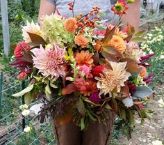 This large fall bouquet has such rich colors.  Dahlias, hydrangea, snapdragons, bittersweet, viburnum, forsythia, celosia, snapdragons, feverfew, and mustard greens.