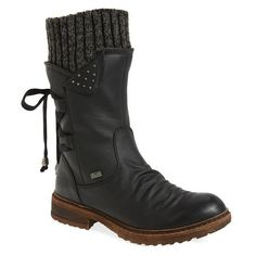 Women's Rieker Antistress Dominika 73 Water Resistant Boot (465 BRL) ❤ liked on Polyvore featuring shoes, boots, rieker boots, scrunch boots, studded boots, rieker shoes and water resistant shoes