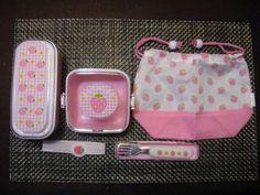 Japanese Cute bento Lunchbox 2stage Belt,Fruit Box, Fork&Case,Lunchbag 5set