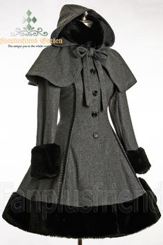 Classic Gothic Lolita: Heavy Wool & Fur Coat with Hood Cape #gothic #fashion
