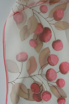 #Silk Scarves - Hand painted silk chiffon scarf white red beige brown by SilkHome http://www.lovelysilks.com