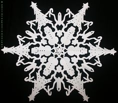 cut+paper+snowflakes+patterns | Paper Snowflake with Christmas trees, snowmen, bells and candles