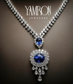 """Yamron Jewelers_ Cue the Celine Dion music ladies and gentleman….Introducing """"The of stunning blue sapphires doused in of gorgeous round and oval diamonds. The best part is that the pendant is removable leaving a slightly less dramatic Luxury Jewelry, Bling Jewelry, Diamond Jewelry, Jewelery, Jewelry Box, Vintage Jewelry, Sapphire Necklace, Blue Necklace, Pendant Necklace"""