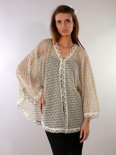 Льняная вязаная блузка - студийная модельная каталожная фотосъемка для интернет-магазина - Folov.in