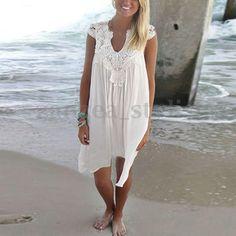 Women Summer Chiffon Sleeveless Floral Lace Crochet Beach Party Maxi Sun Dresses | eBay