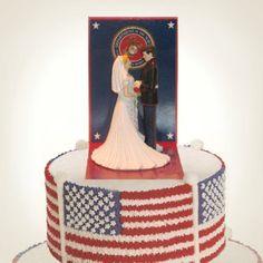 Needs a few adjustments to be an Army Wedding Cake but I like the idea Marine Wedding Cakes, Military Wedding Cakes, Marine Corps Wedding, Military Cake, Military Weddings, Wedding Bells, Our Wedding, Wedding Ideas, Wedding Stuff