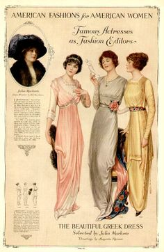 1913 fashion plate - 'The Beautiful Greek Dress' Vintage Patterns, Vintage Prints, Vintage Art, Vintage Ladies, Victorian Ladies, Belle Epoque, Edwardian Era, Edwardian Fashion, Vintage Fashion