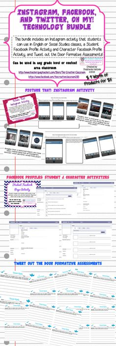 Technology Bundle-Lessons, Activities, and Formative Assessments using Facebook, Instagram, and Twitter! $9.00 worth of products for only $5.00!
