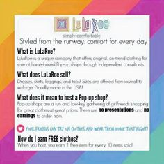 All about LuLaRoe!! Contact me to host an online or in-home party today!!