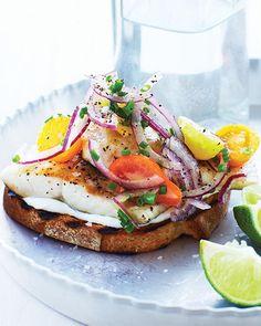 {Sautéed trout on toast.}