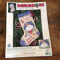 Christmas Stocking Cross Stitch Kit Jolly Santa Dimensions 8669 Complete Howard