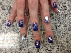 Blue and silver nail art Blue And Silver Nails, Silver Nail Art, Get Nails, Love Nails, Nail Polish Designs, Nail Designs, Nail Tips, Nail Ideas, Makeup Ideas