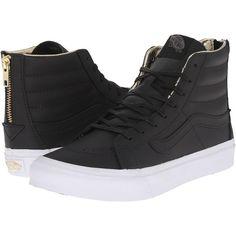 fbc794f6984fa8 Vans SK8-Hi Slim Zip Black Gold) Skate Shoes