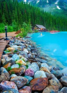 Collect these colorful rocks at Rocky Shore in Lake Louise, Canada. photo via danjones My friend, JD, raves about Lake Louise, he and his wife spent time there. Lac Louise, Places To Travel, Places To See, Places Around The World, Around The Worlds, Beautiful World, Beautiful Places, Beautiful Scenery, Wonderful Places