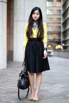 Shop this look on Kaleidoscope (shirt, sweater, skirt, pumps, bag, bracelet)  http://kalei.do/W7eWQtuWujqCeek6