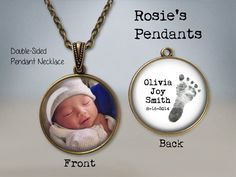 YOUR BABY'S Actual Footprint and Photo by RosiesPendants on Etsy