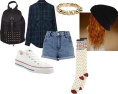 """""""tucked in baggy shirt , with short shorts , cute tomboy outfit for school ."""" by destiny-357 ❤ liked on Polyvore"""