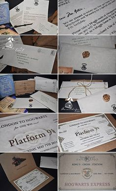 The famous Acceptance letters served as invites along with Hogwarts express train tickets! Invites available in our shop!