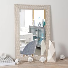Miroir en bois H 60 cm GRAPHIQUE