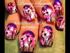 Nail Art Tutorial   Easy Daisy Nails   Purple Ombre Nail Design
