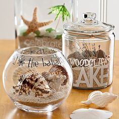 Beach Memory Jars  Bring home beach memories to store in a jar. Collect clear jars and bottles. Put shells and sand inside. Label each container with rub-ons or stickers to spell out the name of the destination. This would be better than the Prego jar! :)