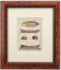 "Chaloupe Sailing Vessel, 1779.  Hand-colored copper engraving of ships from Encyclopédie, ou dictionnaire raisonné des sciences, des arts et des métiers by Diderot, Paris 1779. Displayed in a wood frame and UV protectant glass.  Dimensions: 16"" L x 19.5"" W x 1.5"" H"