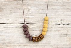 Brown and Ocher Necklace / Lava Stone Necklace / by DiaStyle