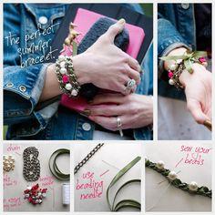 DIY Ribbon Chain Bracelet