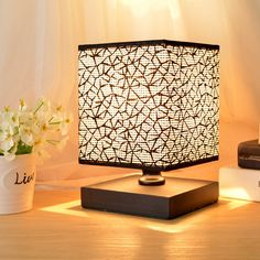 Hhome Plus Simple Modern Table Lamp Bedside Desk Lamp with Square Fabric Shade Long Cable with In Line Switch, Wooden Base - Black
