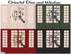 Oriental Sliding Door and Matching Window Japanese Sliding Doors, Japanese Door, The Sims 4 Pc, Sims Cc, Sims 4 Windows, Sims 4 Anime, Play Sims, Best Sims, Sims 4 Cc Furniture
