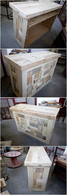 Your house outdoor will look so imperfect and incomplete if it is not equipped with the best perfection of the wood pallet counter table set into it. This furniture counter table set is enclosed with the settlement of the table durable and rough sturdy use of the pallet all into it.