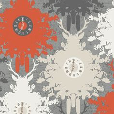 Time is Deer in Ember Indelible by Katarina Roccella by FabricBubb, $10.00