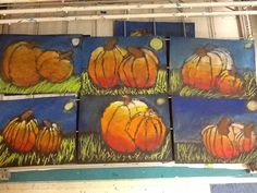 My second grade artists are so talented! We have been working on a fall… Third Grade Art, Second Grade, Grade 2, Grade 3 Art, Art Plastique Halloween, October Art, Pumpkin Pictures, Fall Art Projects, Pumpkin Art