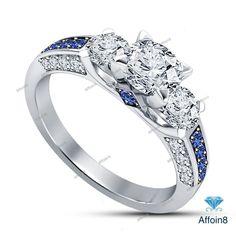 3.50 CT Round Cut Diamond & Sapphire Three Stone Women's Engagement Ring Sz 5-12 #affoin8 #WomensThreeStoneEngagementRing