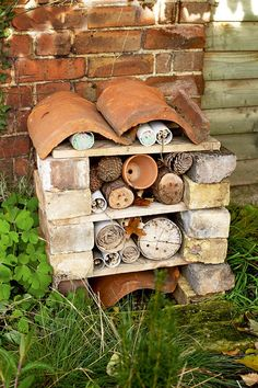 "Homemade bug hotel garden craft. Got the bricks, drill and ""stuff"" - what am I waiting for!?"