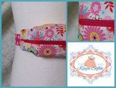 Bright floral insulin pump belt with pink and white by KaijaSofia