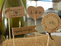 Brown kraft cupcake toppers I made for DD's rustic wedding Oct. 2012 @Jessica Lott