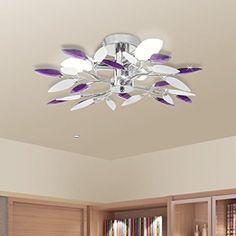 Plafonnier à quatre bras décorés feuilles acryliques Blanc et pourpre 3 ampoules E14