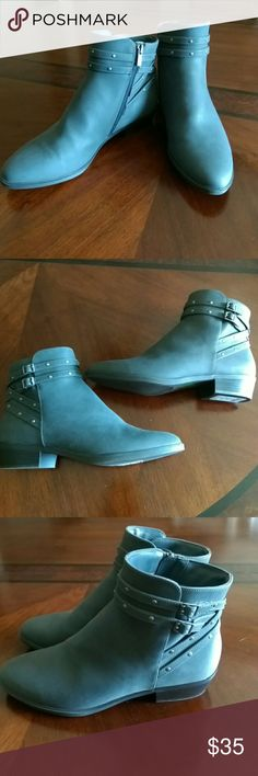 Chaps Gray boots Brand new grey chaps Faux suede boots with strappy Buckle design and zipper sides pointy-toe size 9 Chaps Shoes Ankle Boots & Booties