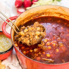 Mexican Stew, Mexican Dishes, Mexican Food Recipes, Spanish Recipes, Authentic New Mexico Posole Recipe, Posole Recipe New Mexico, New Mexican Posole Recipe, Easy Posole Recipe, Chicken Posole Recipe