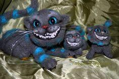 Купить Чеширские котики сухое валяние - серый, чеширский кот, чешир, котик…