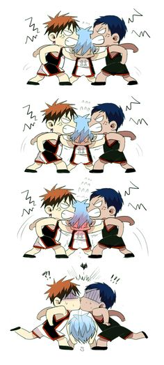 That escalated quickly. Aomine x Kagami pairing by Kuroko.
