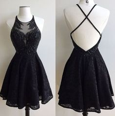 - Black Lace Prom Dress, Short Special Occasion Dresses,