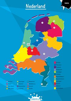 Netherlands Map, World Thinking Day, School Posters, A4 Poster, School Projects, Middle School, Bee, Knowledge, Language