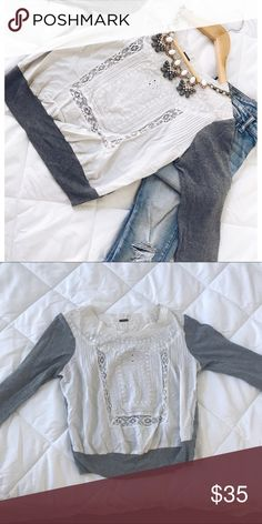Gray&White Embroidered Sweater FREE PEOPLE Size XS Gorgeous Free People Embroidered Sweater with gray long sleeves. EUC. Style with ripped jeans, ankle boots and statement necklace or earrings! Free People Sweaters
