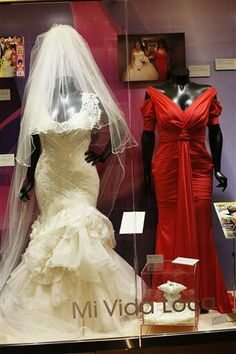 Jenni Rivera's wedding dress and the dress she wore to her daughter's quinceañera