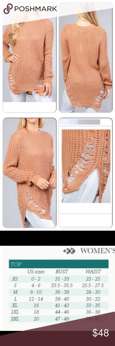 Mauve Distressed Curved Hem Knit Tunic Sweater Beautiful Mauve Colored Tunic Sweater with fun distressed sides!! Would match the amazing floral leggings i sell as well!! Sweaters Crew & Scoop Necks