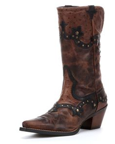 """The Rogue from the New West Collection combines vintage and chic for a uniquely styled Western fashion boot. Step up to the dance floor or step out on the town with comfort and confidence. The X-toe says confident and the 2.5"""" rough-out leather-wrapped heal and ATS footbed says sturdy. $189.95"""