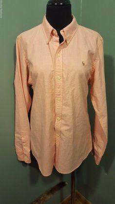 Ralph Lauren Sport Slim Fit Pale Orange Button Down Cotton Blouse Shirt 14 Euc #RalphLaurenSport #Blouse #CareerDress #daystarfashions $24 FREE SHIP
