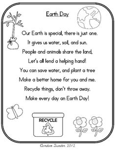 Earth Day Poem Pack/Mini Unit Use poem to identify rhyming words, contractions, and 2 and 3 syllable words. Earth Day Activities, Holiday Activities, Activities For Kids, Earth Day Worksheets, Earth Day Projects, Earth Day Crafts, Art Projects, Earth Day Poems, Save Earth Poem